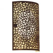 Arandela aço marrom envelhecido vidro champagne 1 X 40W E14 - Eglo Iluminação
