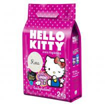 Areia higiênica p/ gatos hello kitty bio fina(rosa) 2kg - Legana pet