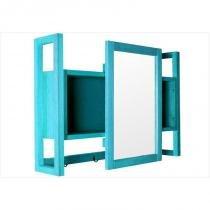 Armário Aéreo com Espelho Gourmet Aquiles Stain Azul - Mão  Formão - Mão  Formão