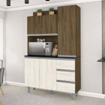 Armário de Cozinha 5 Portas 3 Gavetas Plus Zanzini Nogal/Nevada -