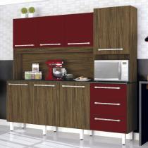Armário de Cozinha 7 Portas 3 Gavetas Galaxy Zanzini Nogal/Bordô -