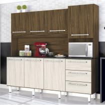 Armário de Cozinha 7 Portas 3 Gavetas Galaxy Zanzini Nogal/Nevada -