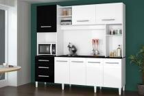 Armário de Cozinha Completo Holanda 2.2 Branco com Preto - CSA Móveis - CSA Móveis