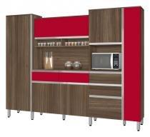 Armário de Cozinha Croácia 2.6 Noce com Vermelho - CSA Móveis - CSA Móveis