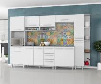 Armário para Cozinha  Carol 7 Peças Branco  - Madine Móveis -