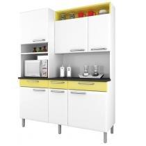 Armário para Cozinha Regina Itatiaia I3VG3-155 Branco/Amarelo Claro - Itatiaia