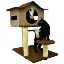 Arranhador para Gatos Casa de Cuco São Pet - Marrom -