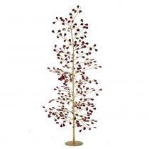 Árvore de Mesa de Metal Dourada e Vermelha Santini Christmas 86cm Red Brilhance -