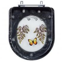Assento Sanitario Poliester Decorado Borboleta Vogue Plus Preto para Vaso Deca - Pontto Lavabo