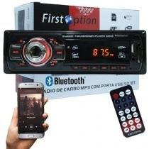 Auto Rádio Som Mp3 Player Automotivo Carro Bluetooth First Option 6650BSC Fm Sd Usb Controle -