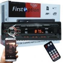 Auto Rádio Som Mp3 Player Automotivo Carro Bluetooth First Option 6680BSC Fm Sd Usb Controle -