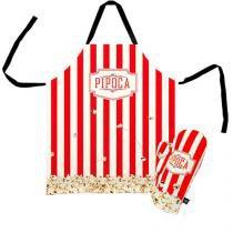 Avental de Cozinha e Luva de Cozinha Pipoca Pipoqueiro Kit - 2 pecas - Vermelho - Único - Gorila Clube