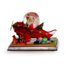 Avião C/ globo musical iluminado neve Natal A Pilha Colorido - Cromus
