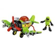 Avião Sky Racer Verde Preto Imaginext Fisher Price - Mattel - Imaginext