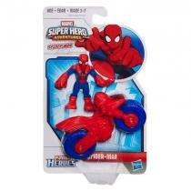 B0820 marvel playskool  super hero spiderman com motocicleta - Hasbro