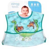 Babador para Bebê Impermeável com Bolso Clingo - Dinos - Neutra - Clingo