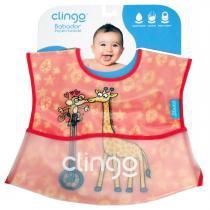 Babador para Bebê Impermeável com Bolso Clingo - Girafas e Macaquinhos - Neutra - Clingo