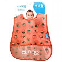 Babador para Bebê Impermeável com Bolso Clingo - Morango - Clingo