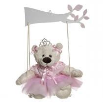 Balança  Com Ursa Bailarina Rosa Quarto Bebê Infantil Menina - Potinho de mel
