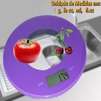 Balança de cozinha  slim design redonda 5 kgs ROXO CBRN01576 - Commerce brasil