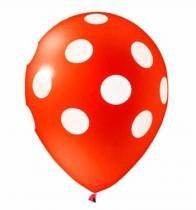 """Balão de Látex Decorado Vermelho Com Bolinhas Brancas 10"""" 28cm 25un Pic Pic -"""