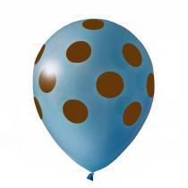 Balão de Látex Poa Azul e Marrom 25 unidades n10 25cm Pic Pic -