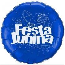 Balão Metalizado Azul e Branco Festa Junina Flexmetal - Festabox