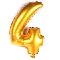 Balão Metalizado Número 4 Dourado 35cm - Aluá festas