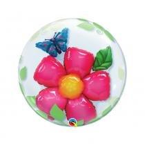 Balão Qualatex Bubble Duplo 24 Pol-61cm Flor E Borboleta -