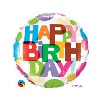 Balão Qualatex Metalizado 18 Polegadas-45,7cm Redondo Birthday Its Your day! -