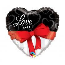 Balão Qualatex Metalizado 36 Polegadas-91cm Coração C/Laço Vermelho -