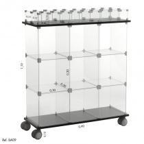Balcão de Atendimento Duplo Modulado em Vidro - 0,90 x 1,10 x 0,30 - Balcãonet