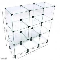 Balcão de Atendimento Modulado em Vidro - 0,90 x 1,00 x 0,30 - Balcãonet