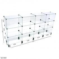 Balcão de Atendimento Modulado em Vidro - 2,00 x 1,00 X 0,40 - Balcãonet