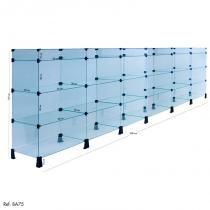 Balcão de Atendimento Modulado em Vidro - 3,00 x 1,10 x 0,30 - Balcãonet