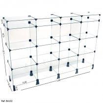Balcão de Atendimento Modulado em Vidro com Porta Bijuteria - 1,60 x 1,10 x 0,30 - Balcãonet