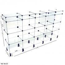 Balcão de Atendimento Modulado em Vidro com Porta Bijuteria - 2,00 x 1,10 x 0,30 - Balcãonet