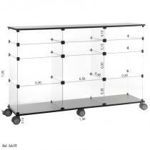 Balcão de Atendimento Modulado em Vidro com Rodízio - 1,50 x 1,00 X 0,40 - Balcãonet