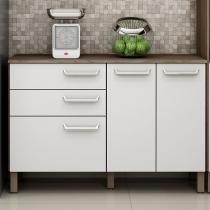 Balcão de cozinha com 2 gavetas e 3 portas Decari 31332 - Castanho Branco - Palmeira