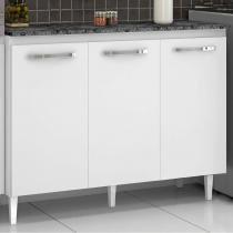 Balcão de Cozinha com 3 Portas Julia - Acabamento em Verniz - Branco - Aramóveis