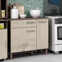 Balcão de cozinha com gaveta e 2 portas Decari 31221 - Castanho Carvalho - Palmeira