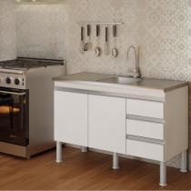 Balcão de Cozinha Ibiza Px Perfil 1,2  Branco - MGM - MGM