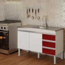 Balcão de Cozinha Ibiza Px Perfil 1,2  Branco/Vermelho - MGM - MGM