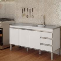 Balcão de Cozinha Ibiza Px Perfil 1,6  Branco - MGM - MGM