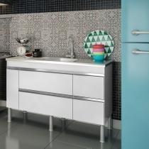 Balcão de cozinha Prisma Para Pia 140 cm - Branco - Mgm
