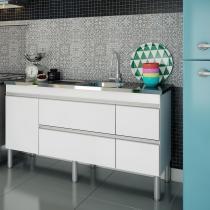 Balcão de cozinha Prisma Para Pia 160 cm - Branco - Mgm