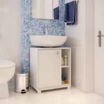 Balcão para Banheiro 1 Porta Estrutura em 15mm com acabamento em BP Fosco Branco - CasaTema