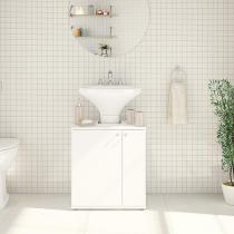 Balcão para Banheiro com 2 Prateleiras Branco Brilho - Branco - Politorno Móveis
