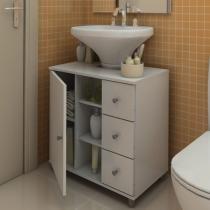Balcão para Banheiro com 3 Gavetas Branco - Politorno - Politorno