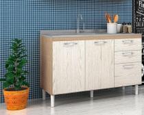 Balcão para Cozinha 2 Portas com Tampo Pia 118 Carvalho / Arezzo - Nicioli -